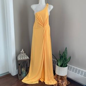 LAUNDRY - Yellow One Shoulder Jersey Maxi Dress